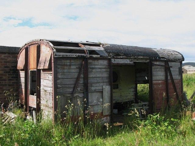 Old railway goods van near Lyness