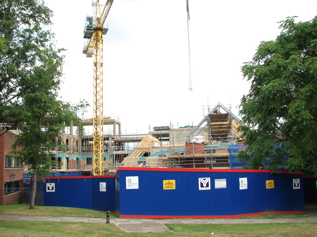 Construction site by Ten Bell Court in Pottergate, Norwich