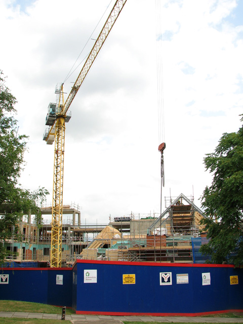 New housing under construction by Ten Bell Court, Norwich