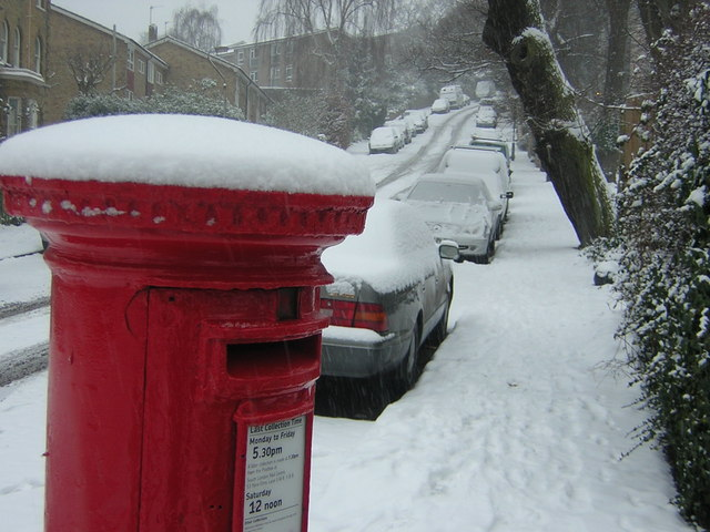 Fox Hill in the snow; pillar box