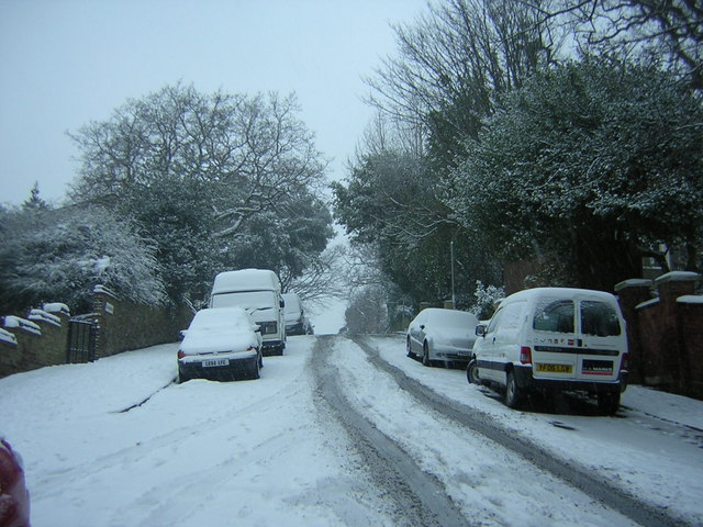 Fox Hill in the snow, at the entrance to Jenson Way