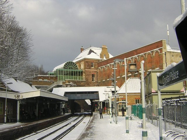 Crystal Palace Station in heavy snow