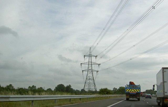 Power lines crossing M69 motorway