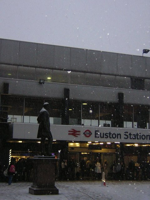 Euston Station and Stephenson statue in snow