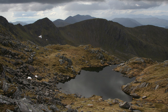 Mountain pool North of the Saddle summits