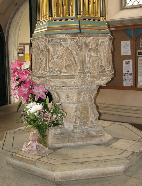 Wymondham Abbey - C15 baptismal font