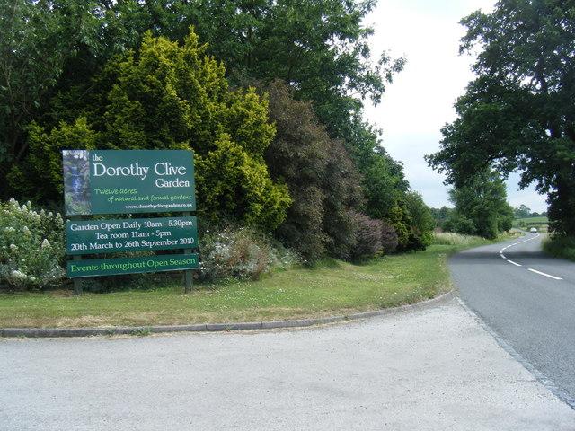 Dorothy Clive Garden entrance sign on A51