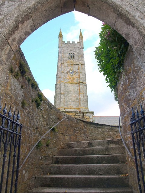 Steps up to churchyard, St Columb Minor