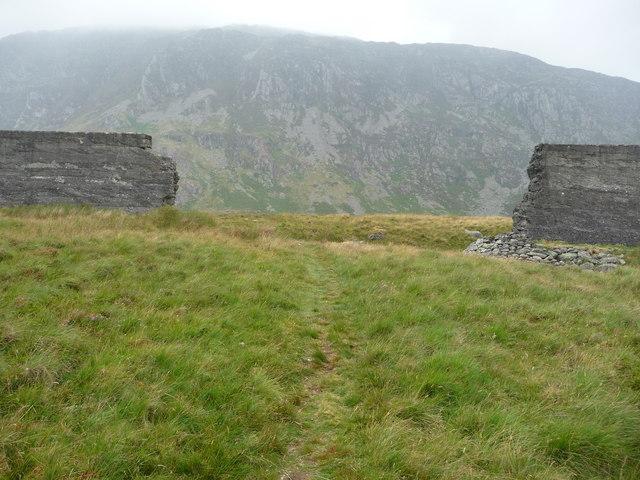 The breach in the dam wall, Llyn Eigiau reservoir