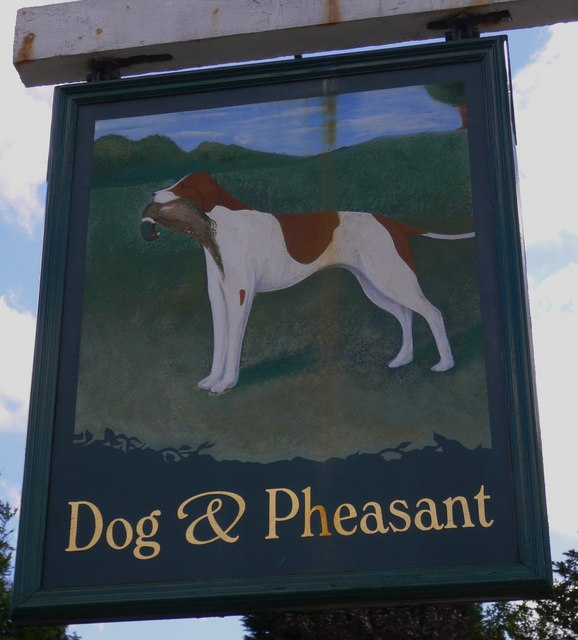 "Sign at the ""Dog and Pheasant"" in Brook"
