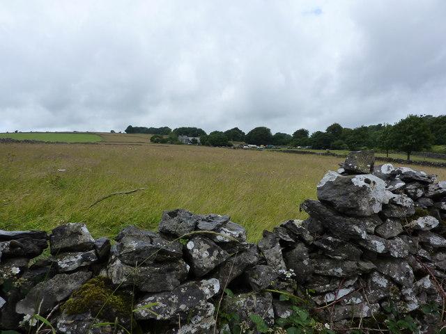 Dry stone wall and farmland at Earl Rake