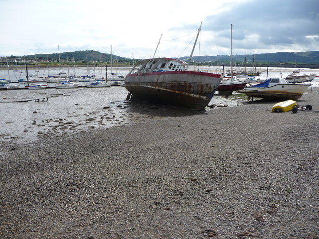 Boats on the foreshore, Conwy estuary