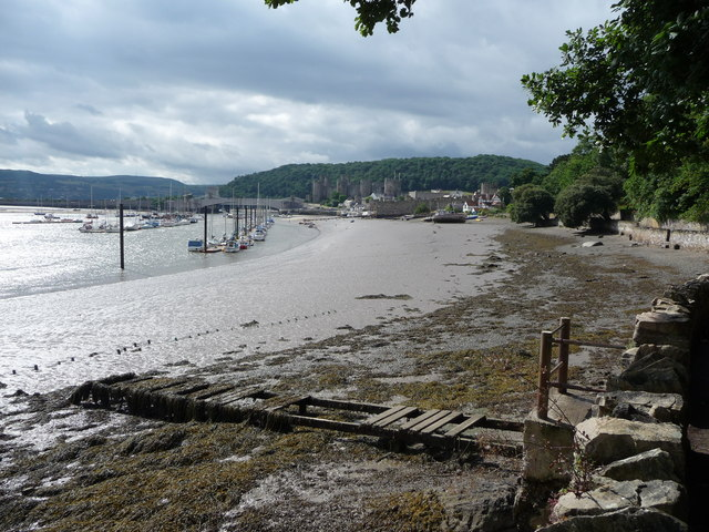 Derelict jetty on the foreshore of the Conwy estuary