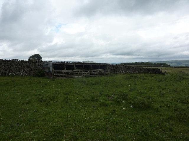 Sheep shelters in a field near Batham Gate