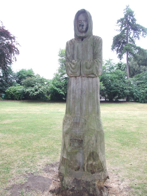 Wooden carving of a monk, The Vines, Rochester