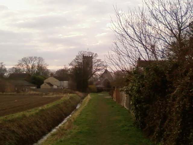 View from Public Footpath back to St Marys Church and Whaplode village