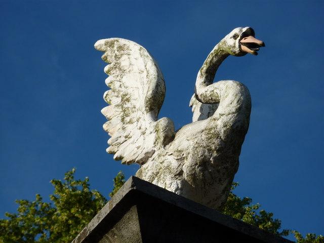 Rearing swan, Gatepost, Torre Abbey, Torquay