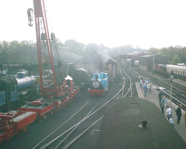 Thomas backing into the engine shed at Wansford