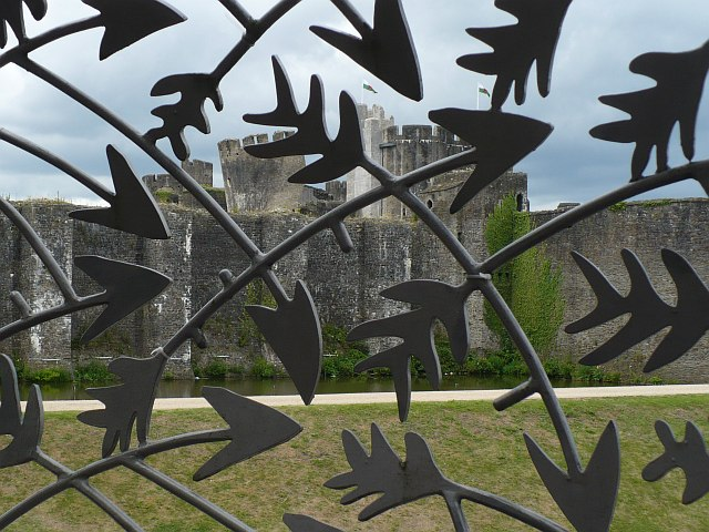 Caerphilly Castle through a shower of arrows