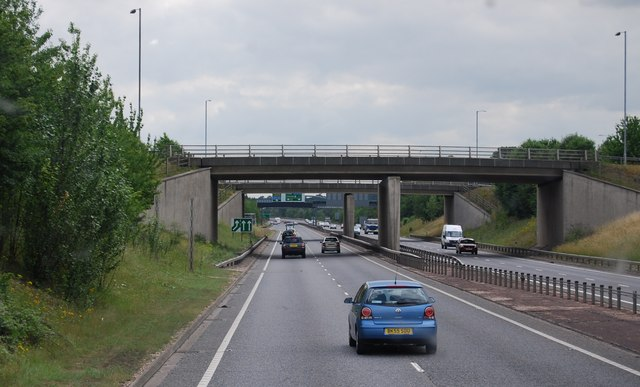 The A1307 bridge over the A11