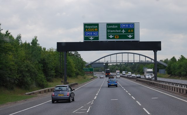 The A11 approaching the A505 turn off