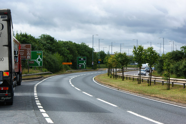 The A426 near Junction One on the M6