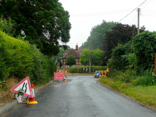 Road works at Bishop's Norton