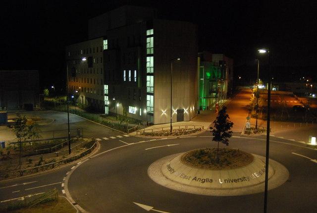 UEA at night: roundabout, University Drive