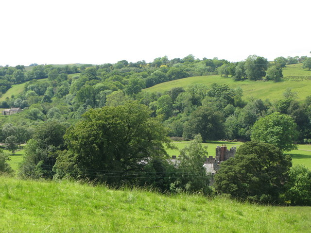 The valley of the River South Tyne around Featherstone Castle