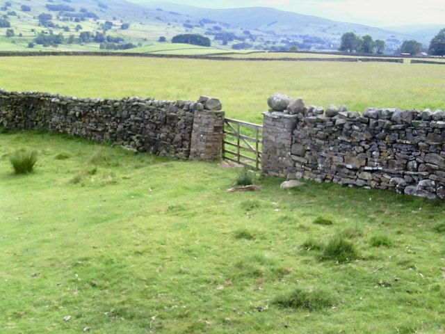 Pastures and gateway on Low Abbotside
