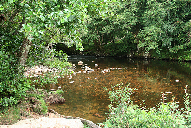 Widecombe in the Moor: the Dart at Deeper Marsh