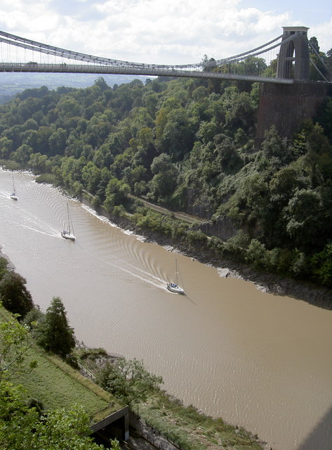 View of the Avon, the Suspension Bridge and sailing boats from the cave