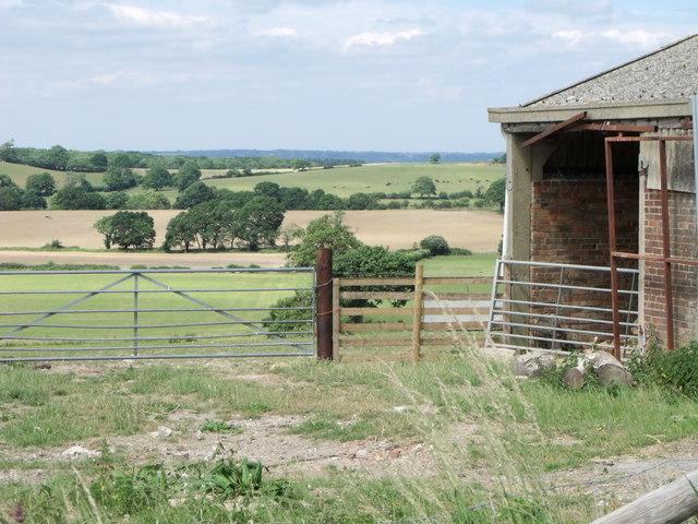 Wickhurst Barns west side and surrounding fields, Fulking