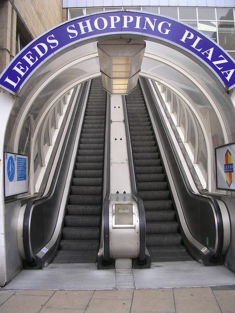 Escalator from Boar Lane to Shopping Centre