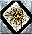TM3894 : St Michael's church in Stockton - medieval glass by Evelyn Simak