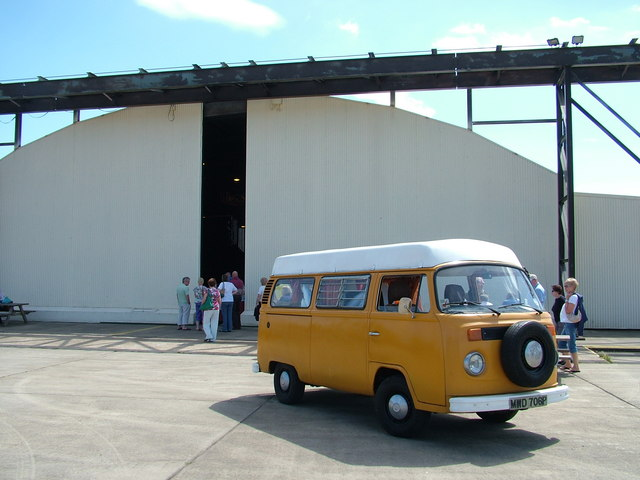VW camper outside the Hush House, Bentwaters
