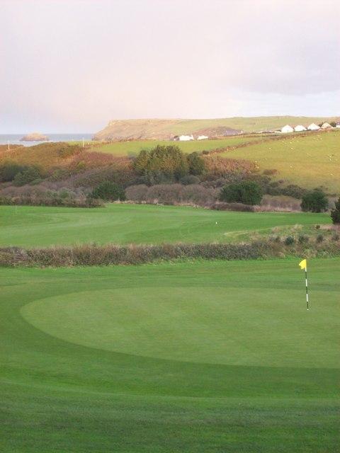 18th hole on Roserrow Golf Course