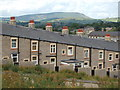 SD8840 : Rear of New Market Street Colne with Pendle Hill : Week 29