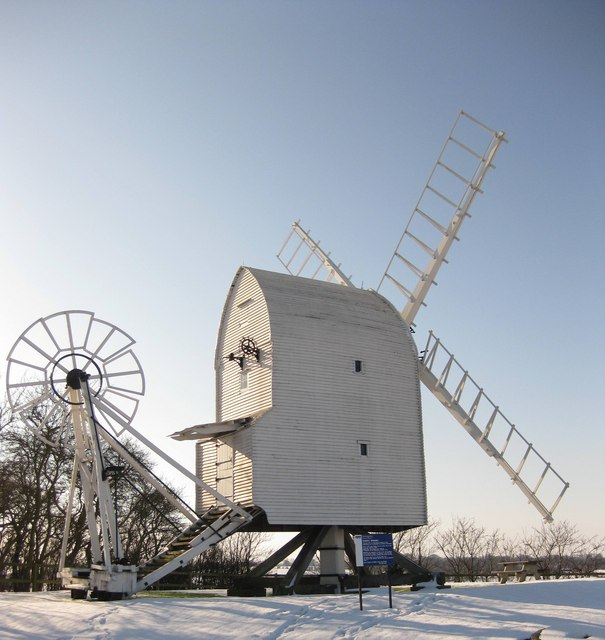 Great Chishill Windmill in the snow