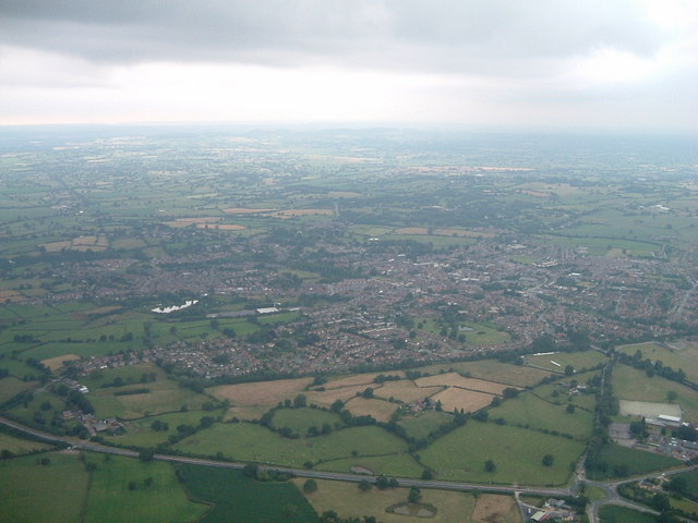 Whitchurch from a hot air balloon