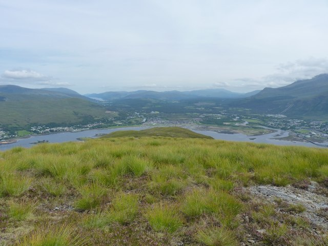 Looking down ridge towards junction of Loch Eil/Loch Linnhe