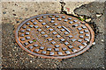 "J3373 : ""Grip-Fix"" manhole cover, Belfast by Albert Bridge"