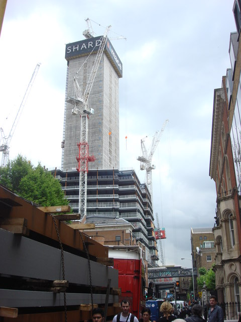 Construction of the Shard, London Bridge from St Thomas Street