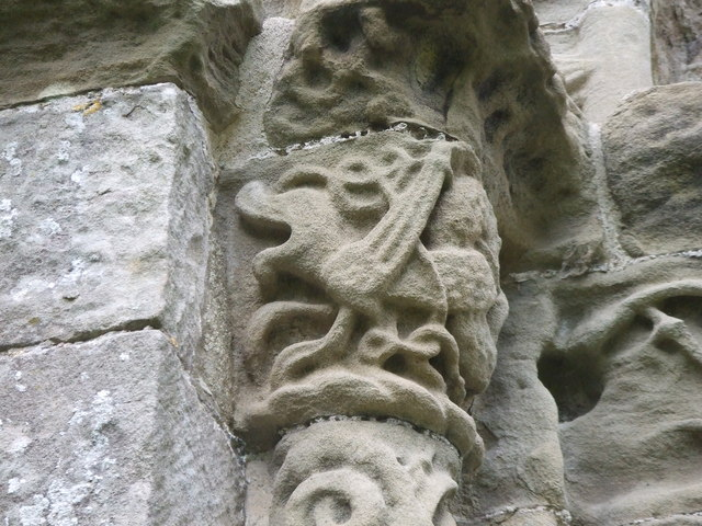 Close up of carving on Shobdon Arches