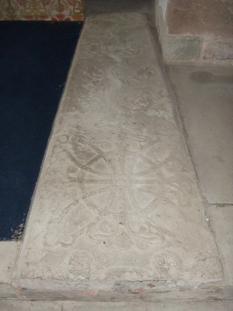 Stone coffin lid in Brinsop Church