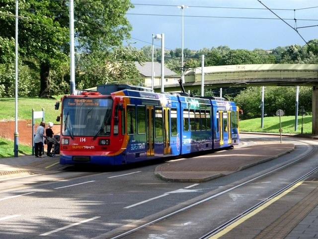 Sheffield Supertram at the Park Grange stop