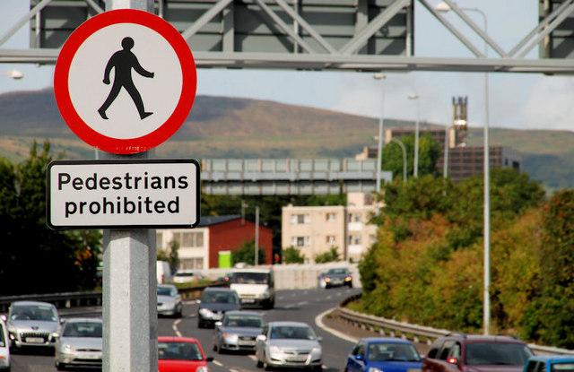 """""""Pedestrians prohibited"""" sign, Belfast"""