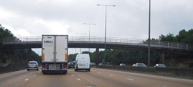 M25: footbridge between junctions 9 and 8