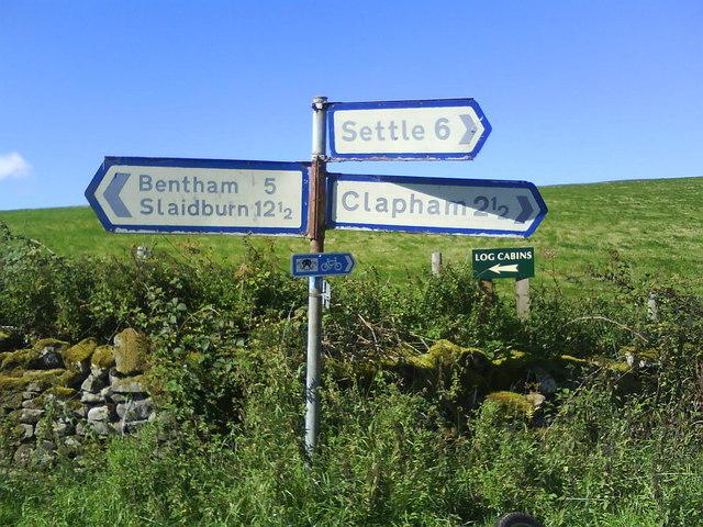 A three way junction near Eldroth, North Yorkshire.