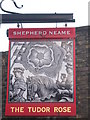 TQ7570 : The Tudor Rose, Pub Sign, Upnor by David Anstiss
